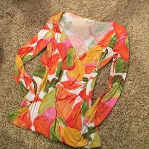 : CAbi : Floral Cross over Blouse